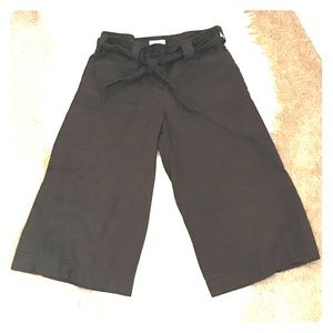 LOFT Dark Brown Marisa Linen Cullotes Style Pants